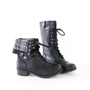 oralee black combat boots
